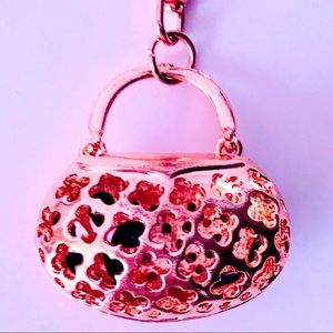 Jewelry - NEW! CRYSTAL FLORAL HANDBAG PURSE CHARM IN GOLD